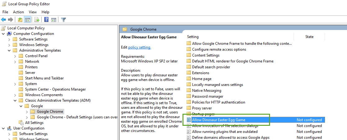 Google Chrome Group Policy
